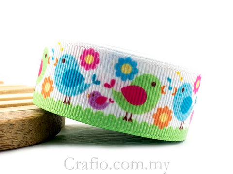 22 mm Loving Birds Printed Grosgrain Ribbon