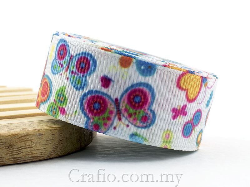 22 mm Summer Butterfly Printed Grosgrain Ribbon