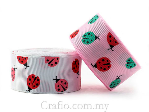 16 mm  and 25 mm Ladybug Printed Grosgrain Ribbon