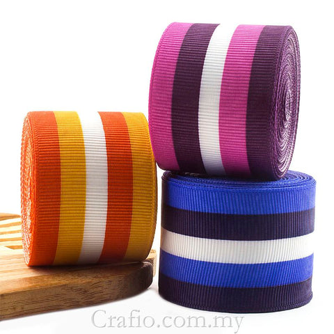 10 mm & 38 mm Candy Stripes Printed Grosgrain Ribbon