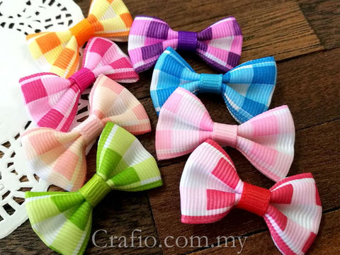 Colorful Plaids Grosgrain Ribbon Bow