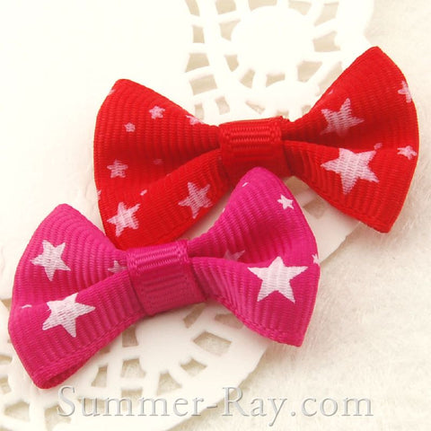 Stars Pattern Grosgrain Ribbon Bow