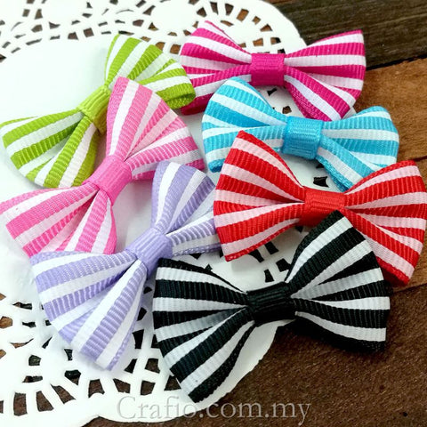 Colorful Stripes Grosgrain Ribbon Bow