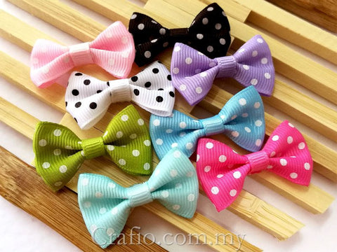 Swiss Dot Grosgrain Ribbon Bow
