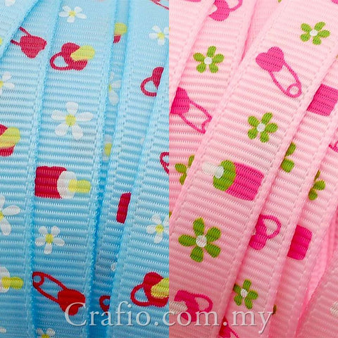 10 mm & 16 mm Baby Shower Printed Grosgrain Ribbon