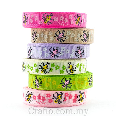 10 mm & 16 mm Buzzy Bees Printed Grosgrain Ribbon
