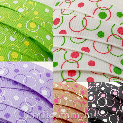 10 mm & 16 mm Circles and Dots Printed Grosgrain Ribbon