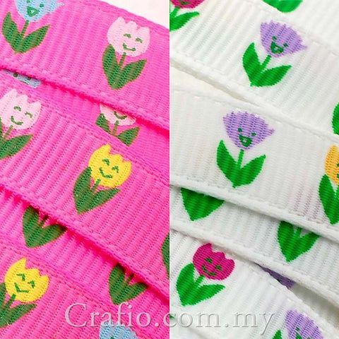 10 mm Enchanted Tulip Printed Grosgrain Ribbon