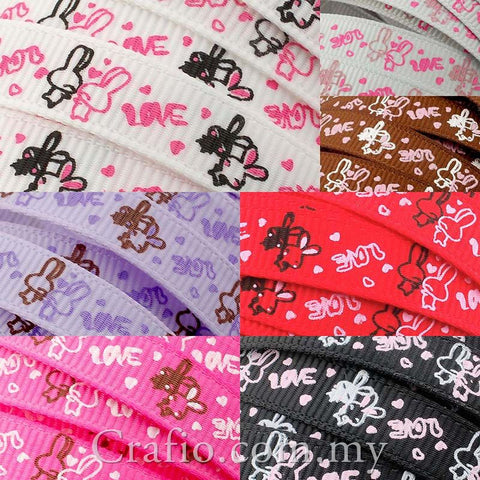 10 mm & 16 mm Loving Bunny Printed Grosgrain Ribbon