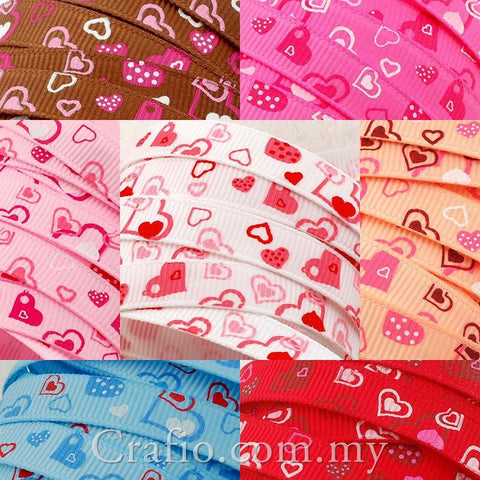 10 mm & 16 mm  Loving Heart Printed Grosgrain Ribbon