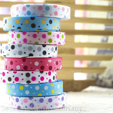 10 mm & 16 mm Multi Dots Printed Grosgrain Ribbon