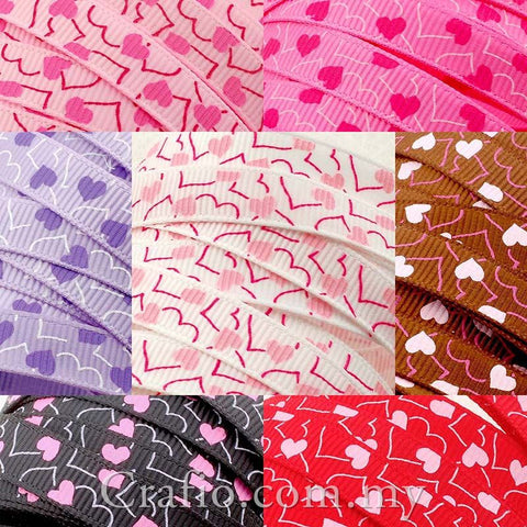 10 mm & 16 mm Random Heart Printed Grosgrain Ribbon