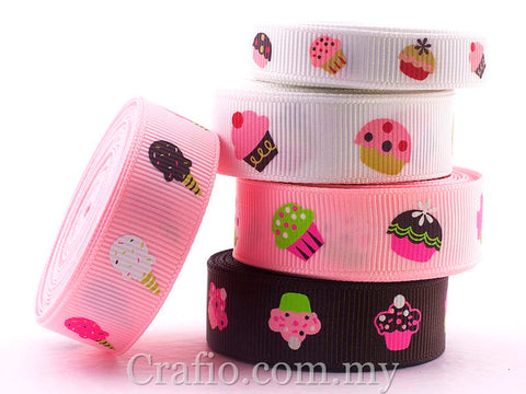10 mm & 16 mm Colorful Cupcakes Printed Grosgrain Ribbon