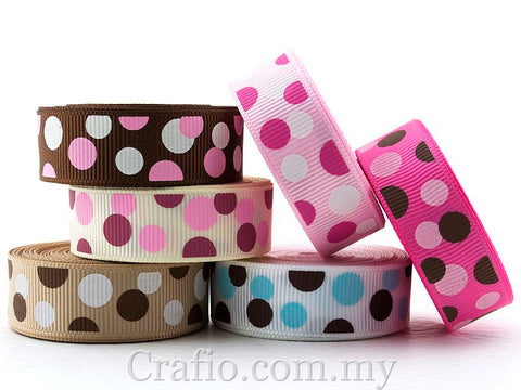 10 mm & 16 mm Candy Dot Printed Grosgrain Ribbon