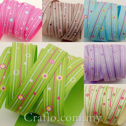 10 mm and 16 mm Dots and Lines Printed Grosgrain Ribbon