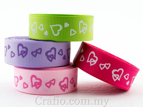10 mm & 16 mm Interlocking Hearts Printed Grosgrain Ribbon