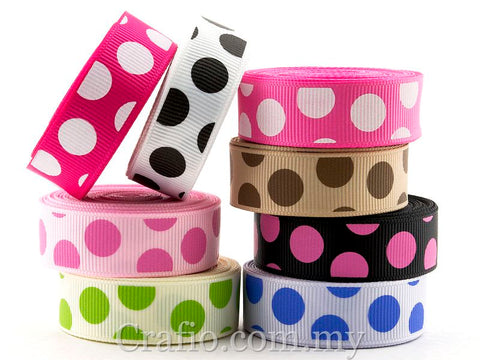 10 mm & 16 mm Jumbo Dots Printed Grosgrain Ribbon