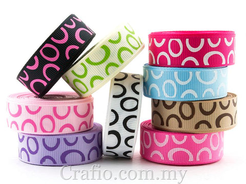 10 mm & 16 mm Jumbo Rings Printed Grosgrain Ribbon