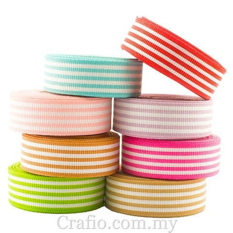 16 mm Stripes Printed Grosgrain Ribbon