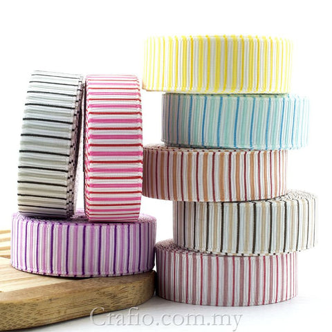 10 mm & 16 mm Vertical Gradient Stripe Printed Grosgrain Ribbon