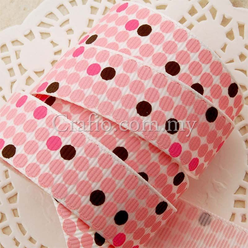 16 mm Party Dot Printed Grosgrain Ribbon
