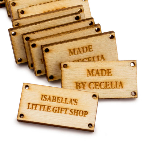 Personalized Wooden Mini Rectangle Product Tags Custom Made Tags for Handmade Crochet Knitted Item