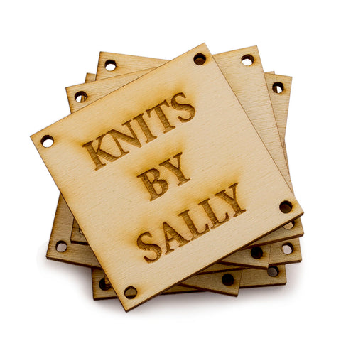 Personalized Wooden Square Product Tags Custom Made Tags for Handmade Crochet Knitted Item