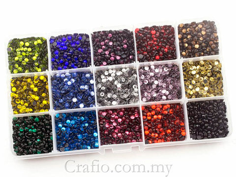 4 mm (SS16) Mixed Color Hot Fix Rhinestones in Storage Box