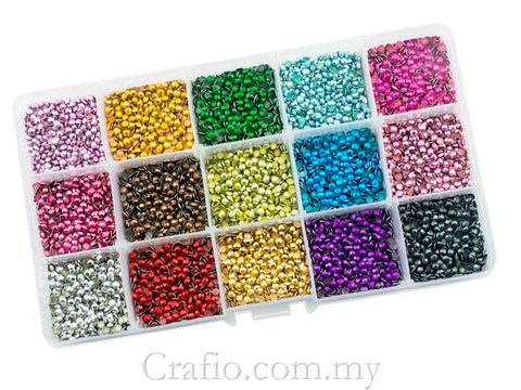 Hot Fix Rhinestuds SS10 (2.8 mm) Mixed Color in Storage Box - 15120 pieces