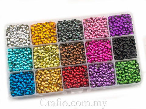 Hot Fix Rhinestuds SS16 (4 mm) Mixed Colour in Storage Box