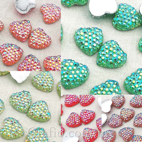 10 mm AB Icy Heart Rhinestones