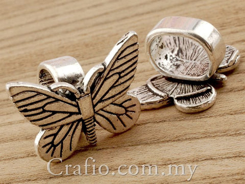 Tibetan Silver Metal Butterfly Buckle Sliders