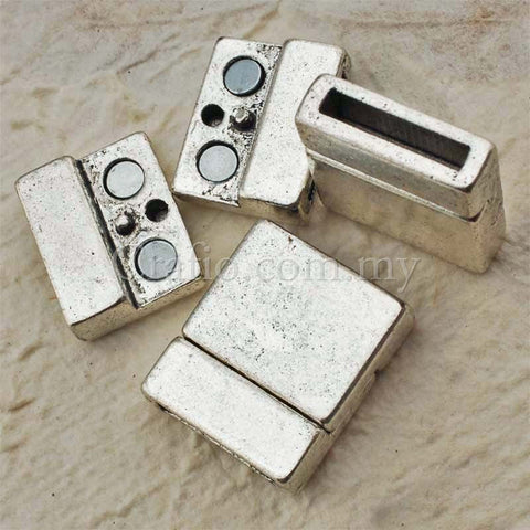 Tibetan Silver Magnetic Clasps for Flat Leather Cords