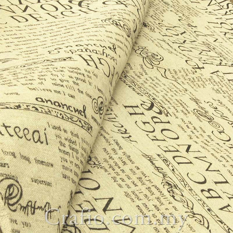 Cotton Linen Retro Newspaper Print Fabric