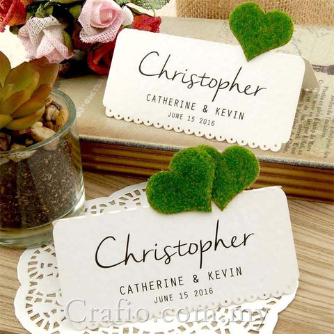 DIY Set Personalized Natural Love in the Garden White Wedding Place Cards