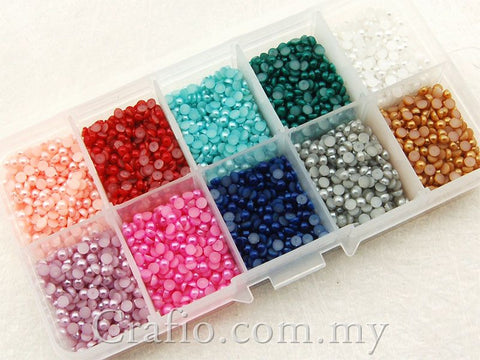 3 mm Mixed Color Flat Back Pearls in Storage Box