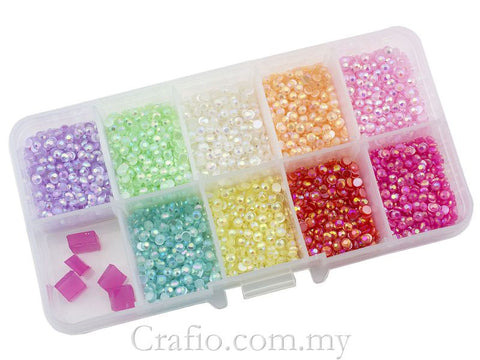 3 mm Glossy Pearl Mixed Color Rhinestones in Storage Box
