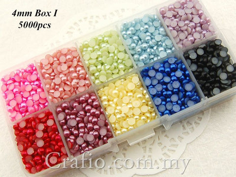 4 mm Mixed Color Flat Back Pearls in Storage Box - Box I