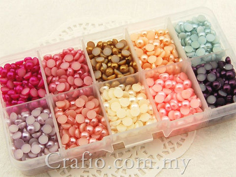 5 mm Mixed Color Flat Back Pearls in Storage Box