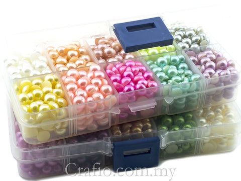 7mm Mixed Color Flat Back Pearls in Storage Box