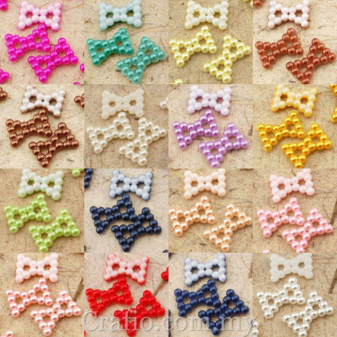 12 mm x 9 mm Pearl Beaded Bows