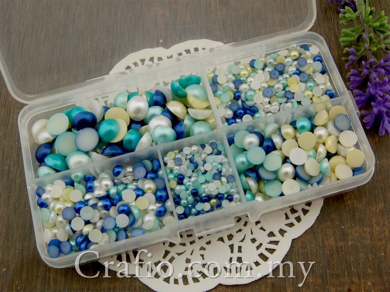 Flat Back Pearls Blue Series in Storage Box - 2000 pieces