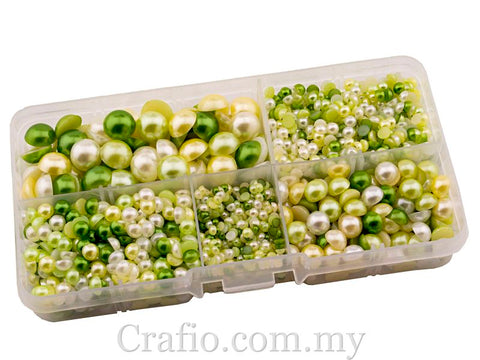 Flat Back Pearls Green Series in Storage Box - 2000 pieces