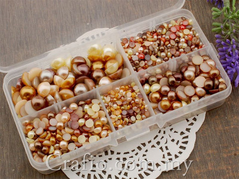 Flat Back Pearls Brown Series in Storage Box - 2000 pieces