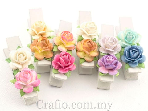 White Wooden Pegs with Handmade Mulberry Flowers