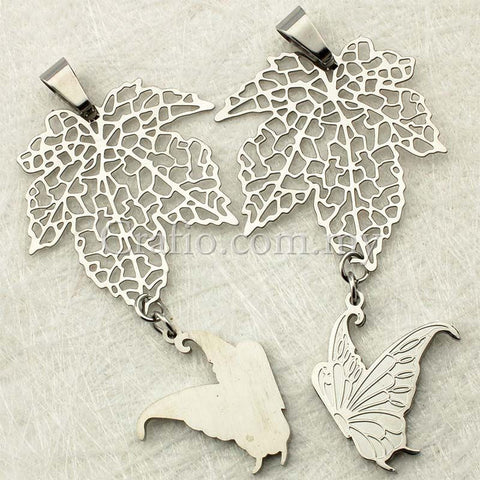 Stainless Steel Butterfly & Leaf Pendant