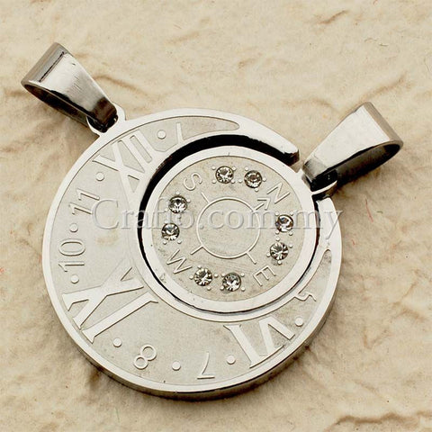 Stainless Steel Clock & Compass Pendant