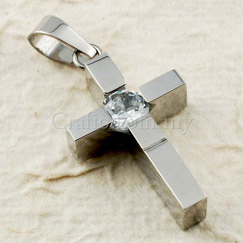 Stainless Steel Cross with Rhinestone Pendant