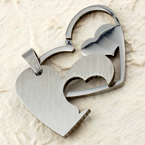 Stainless Steel Double Heart Pendant