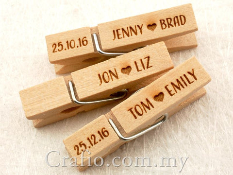 Wooden Peg with Personalized Wedding Engravings
